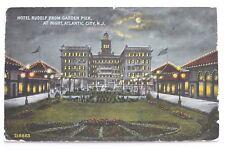 Old postcard HOTEL RIDOLF FROM GARDEN PIER AT NIGHT, ATLANTIC CITY, N.J.