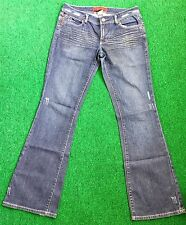 Level 99 Womens Blue Jeans Size 32 x 33 1/4 Distressed Stretch Crinkle Denim