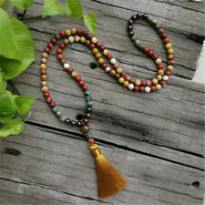 108 beads Mookaite &Garnet&Tiger Eye Round Long Tassel Necklace & Bracelet set