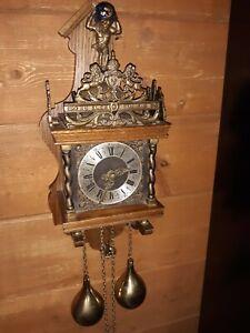 Vintage Dutch wall clock--Warmink Holland--Weight Driven Chiming--Works--WUBA