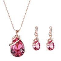 Halskette Ohrringe Diamant elegante Frauen Schmuck Set von Anhaenger Halskett W2
