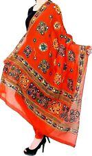 Orange Cotton Ethnic Embroidery Dupatta phulkari stole wrap chunni indian