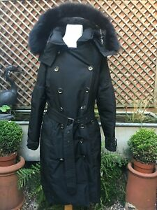 Burberry London England black double breasted hooded women's coat  14 XL