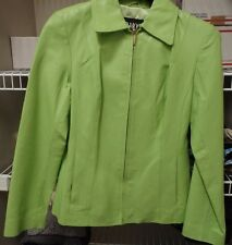B MOSS *Womens Genuine Leather lime green  Jacket Fitted Lined * M with gloves
