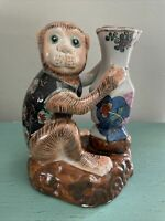 Vintage Hand Painted Chinese  Porcelain Monkey Holding A Vase Figurine Red Stamp