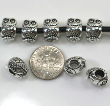 Owl Large Hole Euro Beads, 10mm, TierraCast, Antiq. Silver Plated Pewter, 4 Pcs