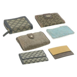 CELINE Leather Macadam Wallet Coin Key Case 6set Brown Blue Auth ar3831