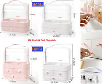 UK Desktop Storage Box Make-up Organizer Cosmetic Drawer Case with Handle