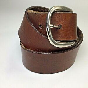 "Belt~Genuine Leather~Women's~Embossed~Floral~Brown~1.5"" Wide~Silver Buckle~"