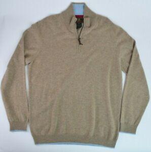 Beretta Mens 100% Cashmere 1/4 Zip Sweater Sz 3XL XXXL Brown Hunting Shooting