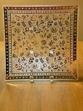Vintage Mcm Georges Briard Gold & Clear Bent Glass Plate w/ Bonus Small Dish