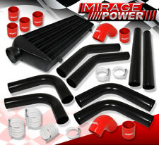 Diy Turbo Charge Intercooler + Aluminum Piping Kit Black + Silicone Coupler Red(Fits: Lynx)