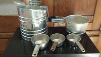 Vintage Mid Century Silver Foley Sift-Chine Flour Sifters + Foley Measuring cups