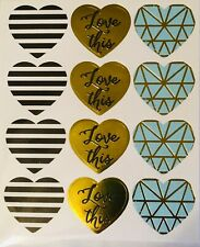Gold Love Heart Scrapbook Stickers