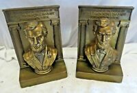 Classic Lincoln Bust Plated Whitemetal Bookends, Large and Heavy, 1930's