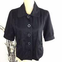 Sashimi Women Size M Black Button Up Bolero Short Sleeve Jacket
