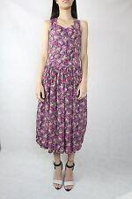 Pink Dress Vintage Pink Black Floral 80s Dress Size Xs (8)