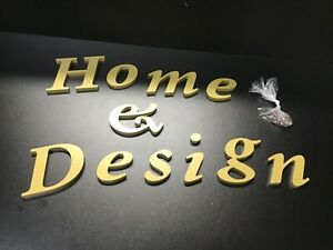 Home & Design Business Sign 3D Three Dimensional Acrylic Raised Gold Letters