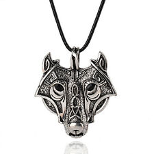 Animal Head Pendant Necklace Chain Gift Vintage Mens Retro Stainless Steel Wolf