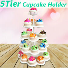 5 Tier Cupcake Holder White Display Plastic Stand Dessert Wedding Birthday