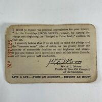 Vintage Pure Oil Company of the Carolinas Pledged To Drive Safely Card Early