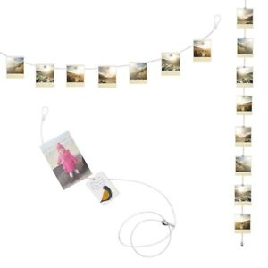 Kikkerland Cable Photo Holder Display 8 Magnet Wall Art Hanging No-Frame Collage