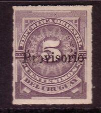 URUGUAY -  1889 PROVISORIO ROUNDED THIRD O IN PROVISORIO ERROR MNG