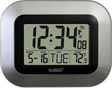 La Crosse Technology Atomic Digital Wall Clock With Indoor & Outdoor Temperature