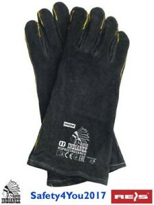 Heavy Duty Wood Burner Welding Heat Resistant Leather Gloves Stoves Fire