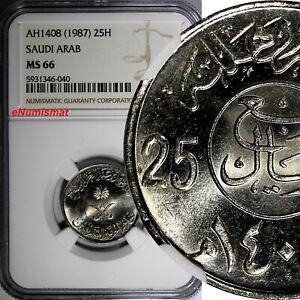 Saudi Arabia UNITED KINGDOMS AH1408(1987) 25 Halala NGC MS66 TOP GRADED KM63 (0)