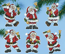 Cross Stitch Kit ~ Design Works Santas with Bells Christmas Ornaments #Dw5918