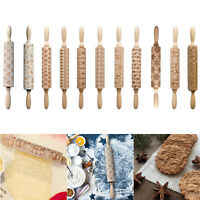 Christmas Rolling Pin Laser Embossing Engraved Dough Roller Tool for DIY Cookies
