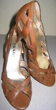 PRADA Camel Brown Braided Woven Straps Pump Heels Sandal Sz 35/5 NEW w/ DUSTBAG