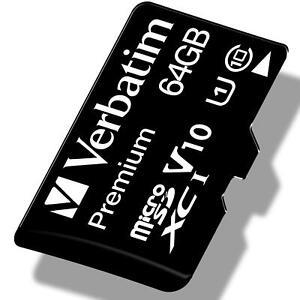 Verbatim Premium micro SD Speicherkarte 64GB Memory Card SDHC SDXC A1 U1 Adapter