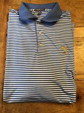 Peter Millar Summer Comfort Golf Polo Shirt Mens Size Large Blue White Striped