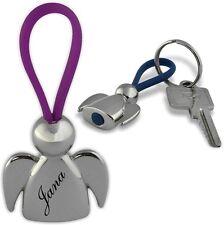 Ein sehr schöner Schlüsselanhänger Schutzengel Chrom mit Gravur Wunschname 01