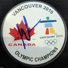MARTIN BRODEUR SIGNED VANCOUVER 2010 OLYMPICS HOCKEY PUCK DEVILS CANADA PROOF J5