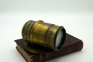 """Vintage Brass No Name F4 8"""" (203mm) Petzval lens 4x5 head shot speed graphic"""