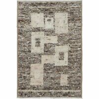 Geometric Moroccan Shaggy Hand-Knotted Area Rug 6'x9' Modern Thick-Plush Carpet