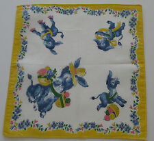 Vintage Child's White Batiste Hankie Donkey Burro Basket Vegetables Fruit 1950s