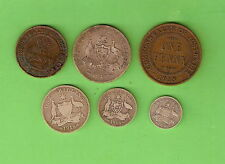 AUSTRALIAN PREDECIMAL COINS FOR 1918, HALFPENNY to FLORIN, WWI COINS