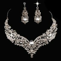 3Pcs/Set Women Necklace + Earrings Crystal Wedding Party Bride Jewelry Kit Gifts