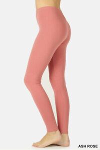 Zenana Leggings Full Ankle Length Cotton leggings Span Stretch Pants High Rise