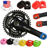 US STOCK  Silicone MTB Road Bike Crankset Crank Arm Protector Cover Cap 15g/Pair