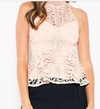 Bariano Nude/Pink Halterneck Lace Sleeveless Top Sz 8 | BNWT RRP $140