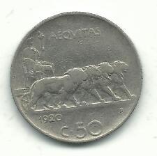 VERY NICE BETTER GRADE 1920 R ITALY 50 CENTESIMI COIN-REEDED EDGE-DEC681