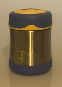 THERMOS FOOGO Vacuum Insulated Stainless Steel 10-Ounce Food Jar, Yellow/ Blue
