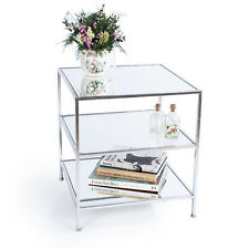 Silver Gilt Leaf Parisienne Metal Mirrored 3 Shelf Coffee Console Side Table