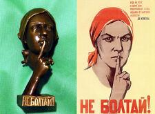 Anti spy propaganda. Don't chatter! - unique bronze statue from cold war era