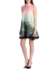 Ted Baker Pink Tropical Palm Print Collar Flare Tunic Dress Beach Holiday 0 6